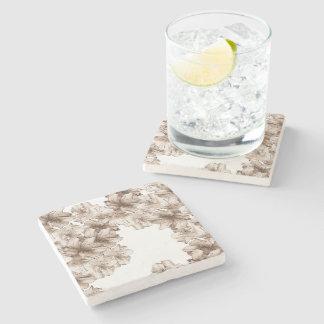 Coffee Brown Illustrated Flower Floral Pattern Stone Beverage Coaster