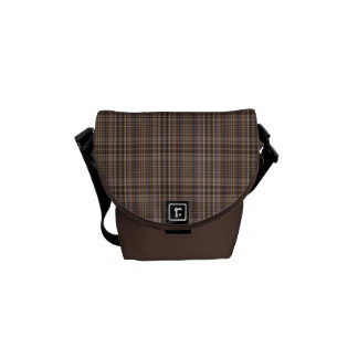 Coffee Brown Plaid Pattern Courier Bag