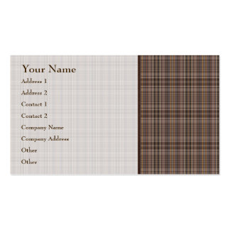 Coffee Brown Plaid Pattern Pack Of Standard Business Cards