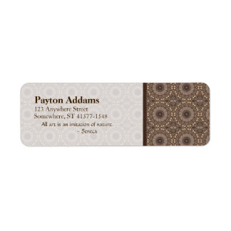 Coffee Brown Repeating Pattern Return Address Label