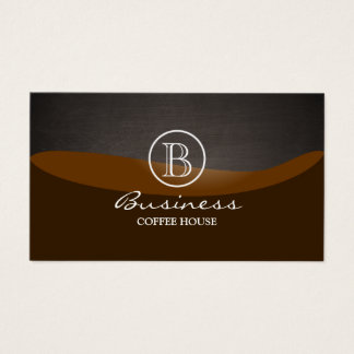 Coffee Brown Wave Monogram Plain Business Card