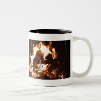 coffee by the fire Two-Tone mug
