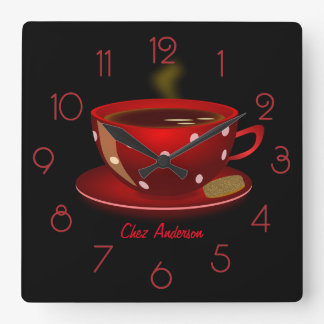 Coffee Cafe Red and Black Personalized Square Wall Clock