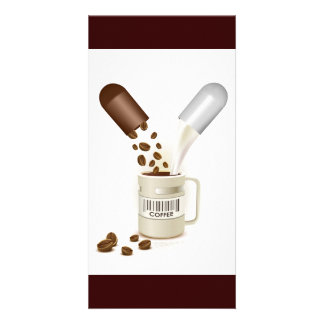 COFFEE CAPSULES BEANS MILK VECTOR ICON LOGO PILLS CUSTOMIZED PHOTO CARD