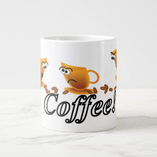 Coffee Cartoon Cups Running With Beans