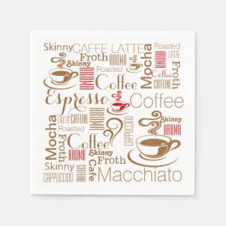 Coffee chic red brown disposable napkin