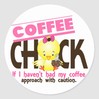 Coffee Chick 1 Round Sticker