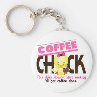 Coffee Chick 3 Basic Round Button Key Ring