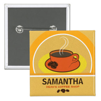 Coffee Coffee Cup Shop Cafe Staff ID Name Tags Buttons