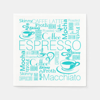 Coffee collage pattern aqua white disposable serviette