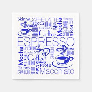 Coffee collage pattern blue white paper napkin