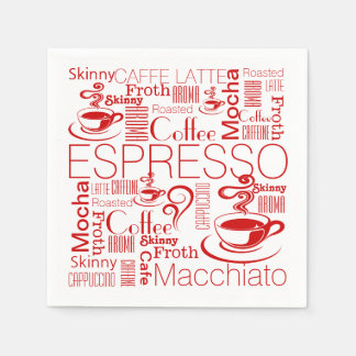 Coffee collage pattern red white paper napkin