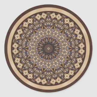 Coffee Colors Abstract Mandala Round Sticker