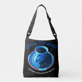 Coffee Consumption Squad | Blue Cup and Saucer Crossbody Bag