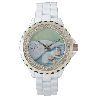 Coffee & Crossword White Rhinestone Watch