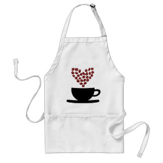 Coffee Cup and Coffee Bean Heart. Standard Apron