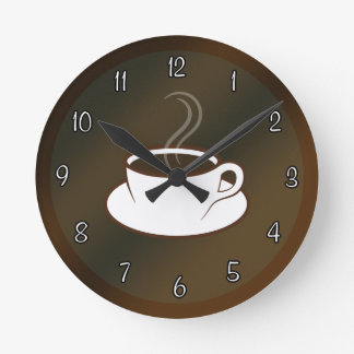Coffee Cup Cafe Coffee Shop Medium Round Clock