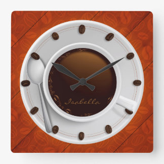 Coffee Cup & Coffee Beans Monogrammed Wall Clock