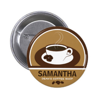 Coffee Cup Coffee Shop Cafe Staff ID Name Tags 6 Cm Round Badge