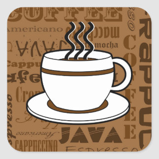 Coffee Cup - Coffee Words Print - Brown Square Sticker