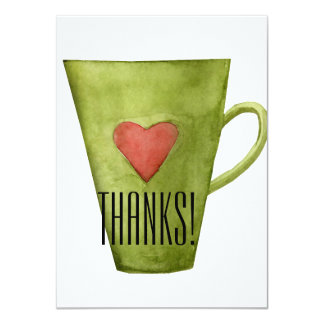 Coffee Cup & Heart Flat Thank You Card