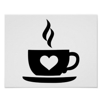 Coffee cup heart poster