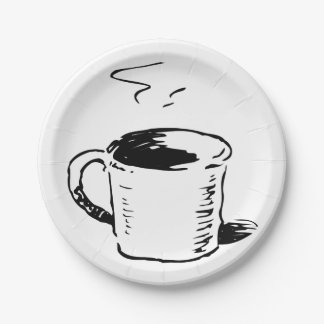 Coffee Cup Illustration Paper Plates
