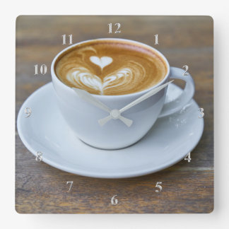 Coffee Cup Latte Kitchen Square Wall Clock