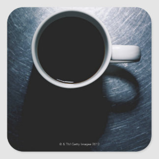 Coffee Cup on Stainless Steel Square Sticker