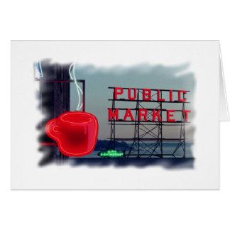 Coffee Cup Public Market Seattle Washington Blank Card