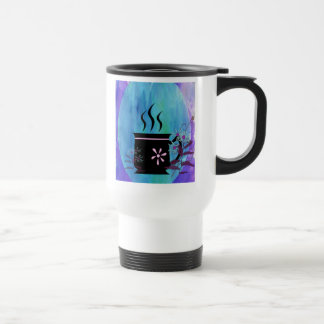 Coffee Cup Silhouette with Flowers