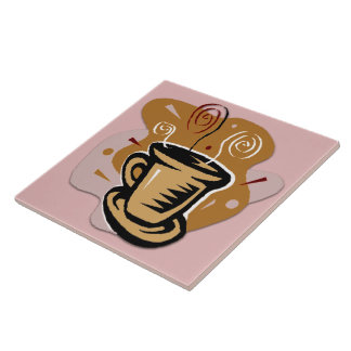 Coffee Cup - Swirl Design Tile/Trivet Large Square Tile