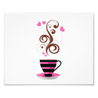Coffee Cup, Swirls, Hearts - Pink Black Brown Photographic Print