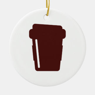 Coffee Cup To go Round Ceramic Decoration