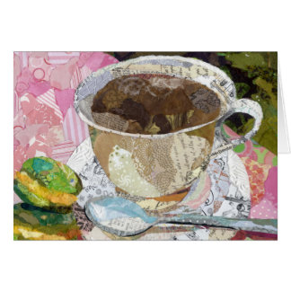 Coffee Cup Torn Paper Painting collage art Greeting Card