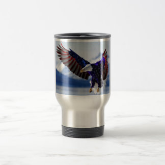 COFFEE CUP WITH BALD EAGLE IN OUR FLAGS COLORS.