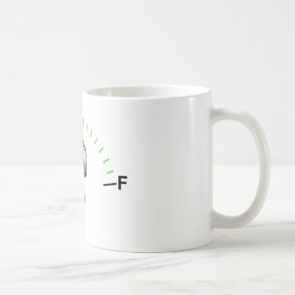 Coffee cup with fuel gauge showing empty tank