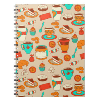 Coffee cups and sweet stuff spiral notebooks