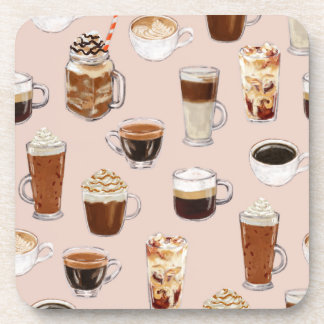 Coffee Drinks and Desserts Pattern Coaster