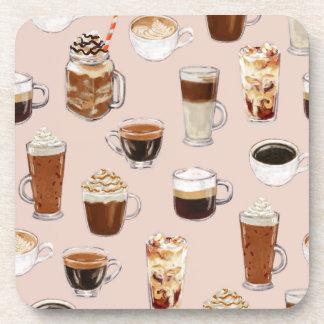 Coffee Drinks Pattern Beverage Coaster