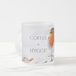 Coffee equals Hygge with a cute robin bird in snow Frosted Glass Coffee Mug