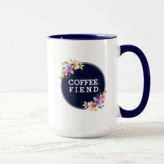 Coffee Fiend Blue Circle Floral Bouquet Mug