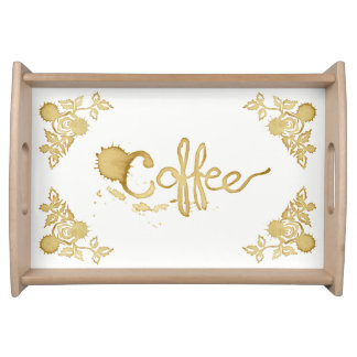 Coffee floral roses serving tray