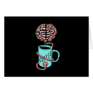 Coffee for the brain. Funny coffee illustration Card