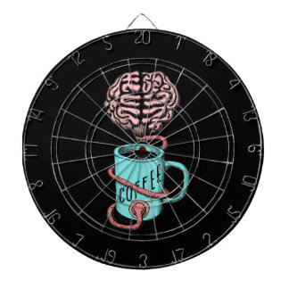 Coffee for the brain. Funny coffee illustration Dartboard