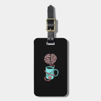 Coffee for the brain. Funny coffee illustration Luggage Tag