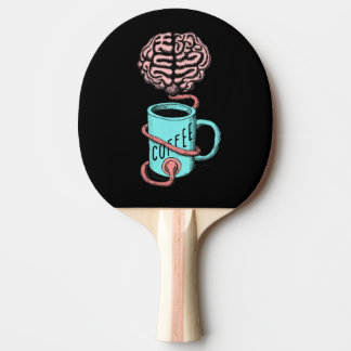 Coffee for the brain. Funny coffee illustration Ping Pong Paddle