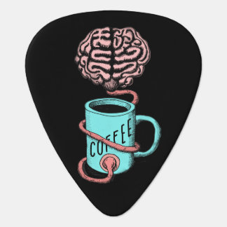 Coffee for the brain. Funny coffee illustration Plectrum