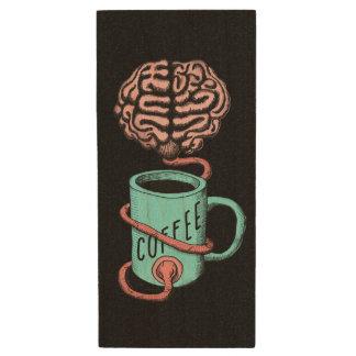 Coffee for the brain. Funny coffee illustration Wood USB Flash Drive