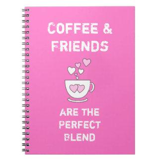 Coffee & Friends Notebook / journal hot pink
